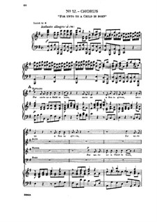 No.12 For Unto Us a Child is Born: Partitura Piano-vocal by Georg Friedrich Händel