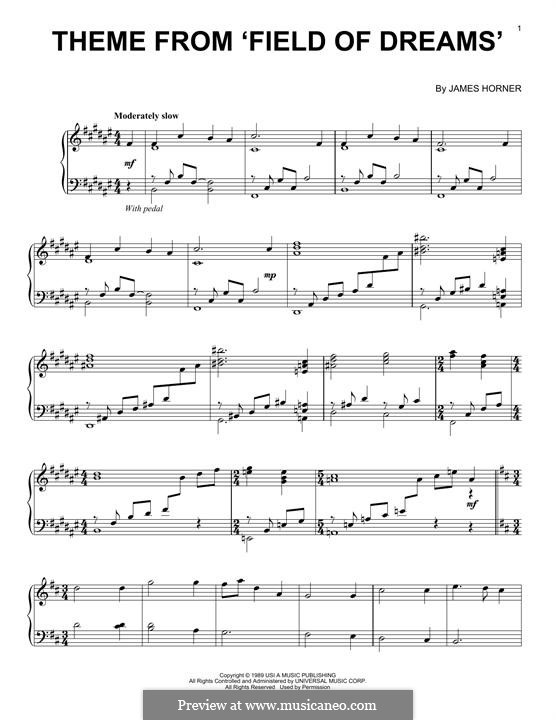 Theme from Field of Dreams: Para Piano by James Horner