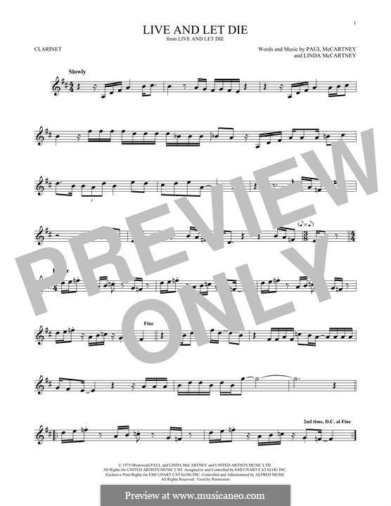 Live and Let Die (Wings): para clarinete by Linda McCartney, Paul McCartney