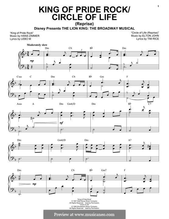 King of Pride Rock: Para vocais e piano (ou Guitarra) by Elton John, Hans Zimmer