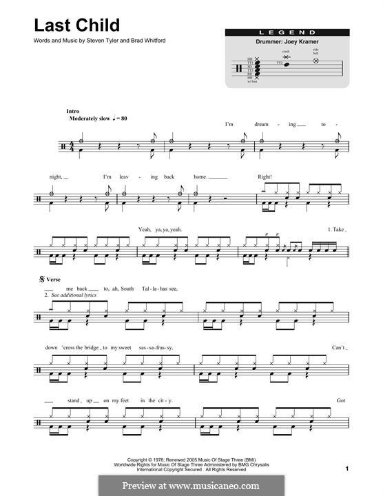 Last Child (Aerosmith): Drum set by Brad Whitford, Steven Tyler