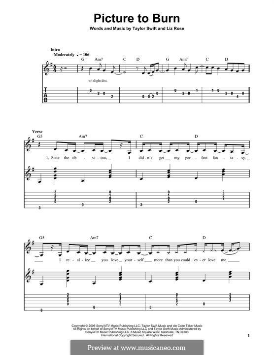 Picture to Burn (Taylor Swift): Para guitarra com guia by Liz Rose