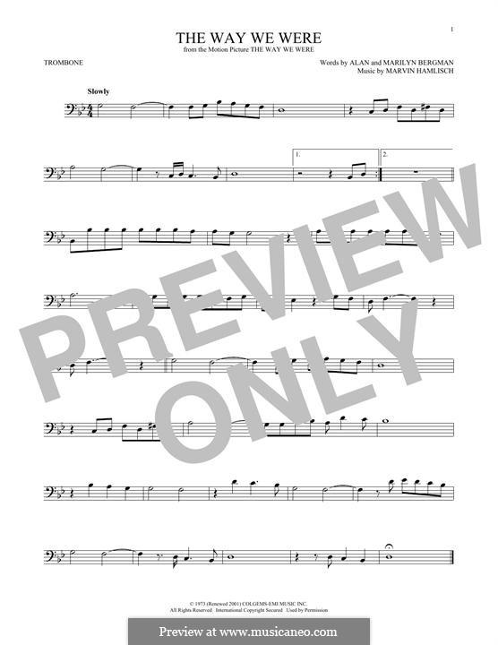 The Way We Were (Barbra Streisand): para trombone by Marvin Hamlisch