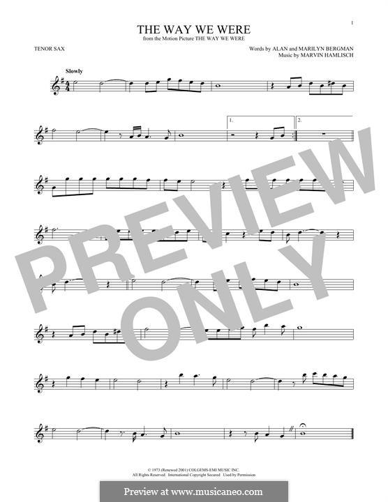 The Way We Were (Barbra Streisand): para saxofone tenor by Marvin Hamlisch
