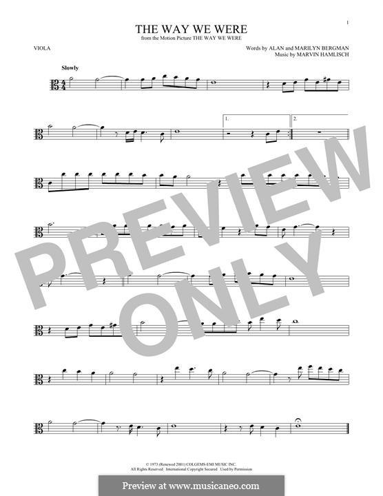 The Way We Were (Barbra Streisand): para viola by Marvin Hamlisch