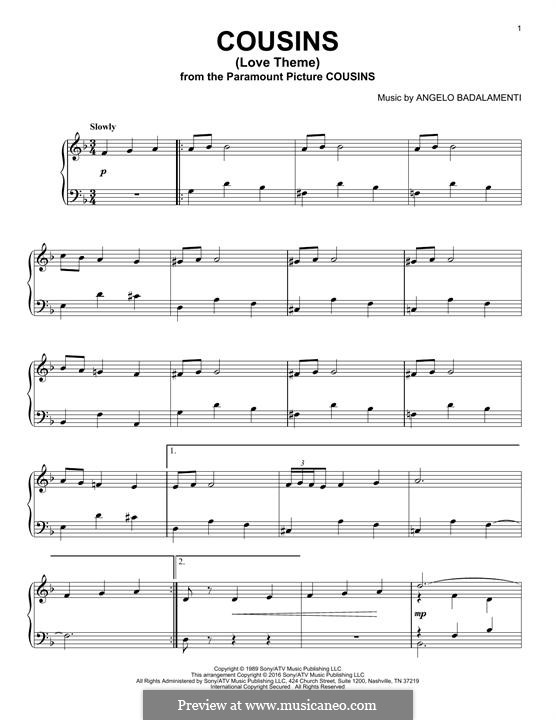 Cousins (Love Theme): Para Piano by Angelo Badalamenti