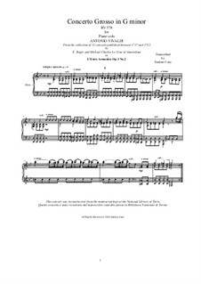 Concerto for Two Violins, Cello and Strings No.2 in G Minor, RV 578: Version for piano solo by Antonio Vivaldi