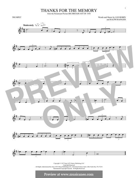 Thanks for the Memory: para trompeta by Ralph Rainger