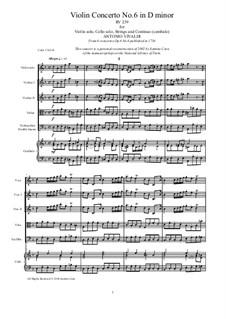 Six Violin Concertos, Op.6: Concerto No.6 in D Minor – score and all parts, RV 239 by Antonio Vivaldi