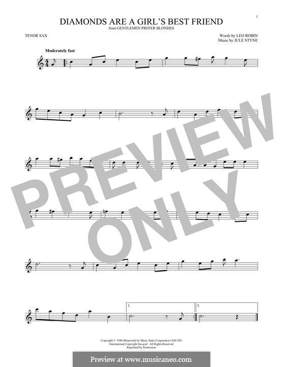 Diamonds are a Girl's Best Friend (Marilyn Monroe): para saxofone tenor by Jule Styne