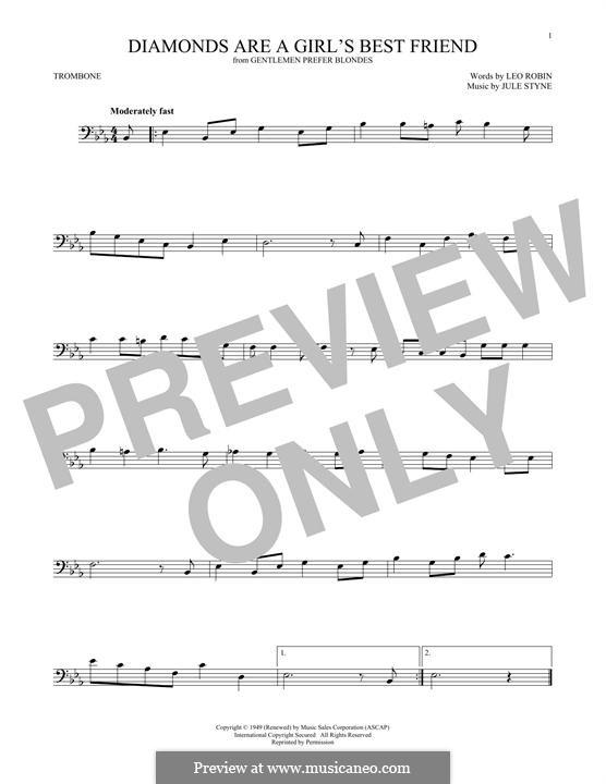 Diamonds are a Girl's Best Friend (Marilyn Monroe): para trombone by Jule Styne