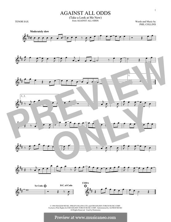 Against All Odds (Take a Look at Me Now): para saxofone tenor by Phil Collins