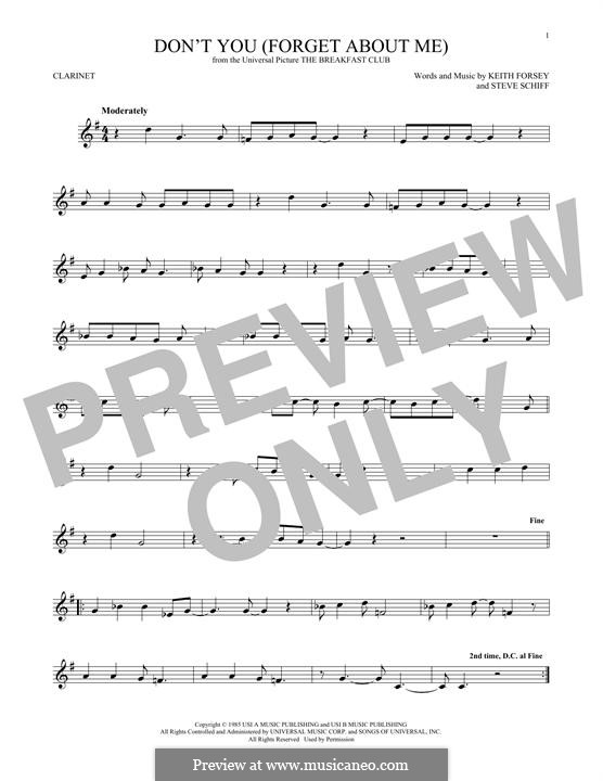 Don't You (Forget About Me): para clarinete by Keith Forsey, Steve Schiff