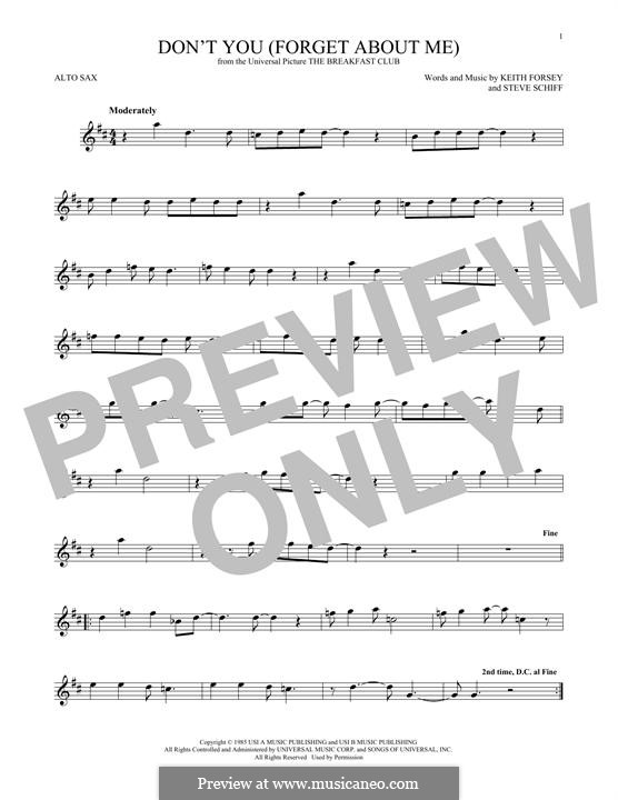 Don't You (Forget About Me): para Saxofone Alto by Keith Forsey, Steve Schiff