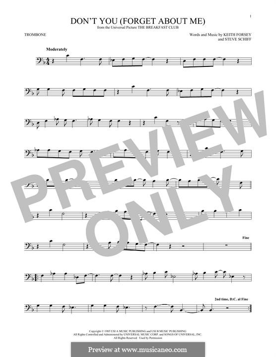 Don't You (Forget About Me): para trombone by Keith Forsey, Steve Schiff
