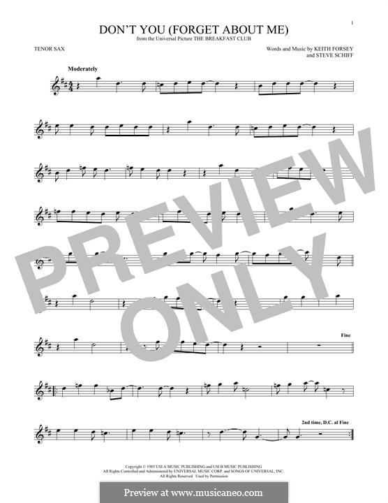 Don't You (Forget About Me): para saxofone tenor by Keith Forsey, Steve Schiff