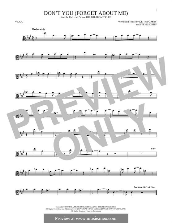 Don't You (Forget About Me): para viola by Keith Forsey, Steve Schiff