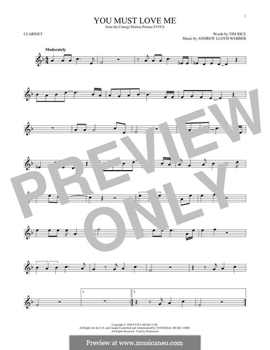 You Must Love Me: para clarinete by Andrew Lloyd Webber