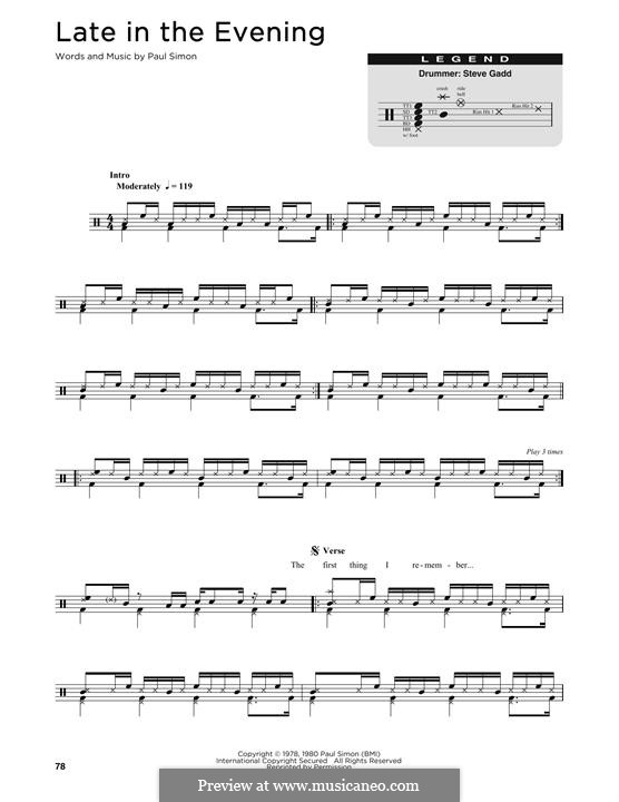 Late in the Evening: Drum set by Paul Simon