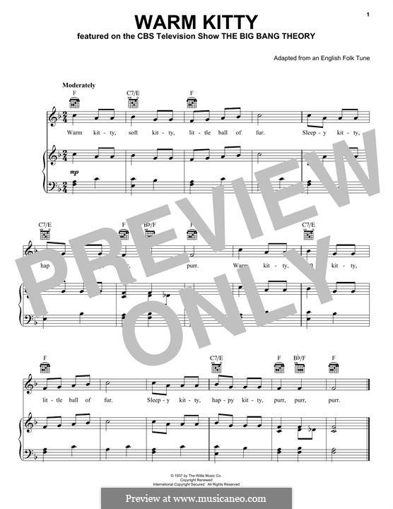 Warm Kitty: Para vocais e piano (ou Guitarra) by folklore