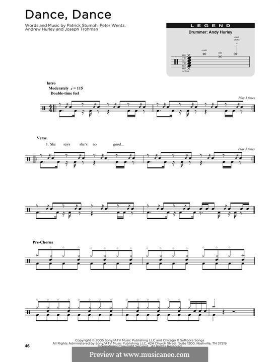 Dance, Dance (Fall Out Boy): Drum set by Andrew Hurley, Joseph Trohman, Patrick Stump, Peter Wentz