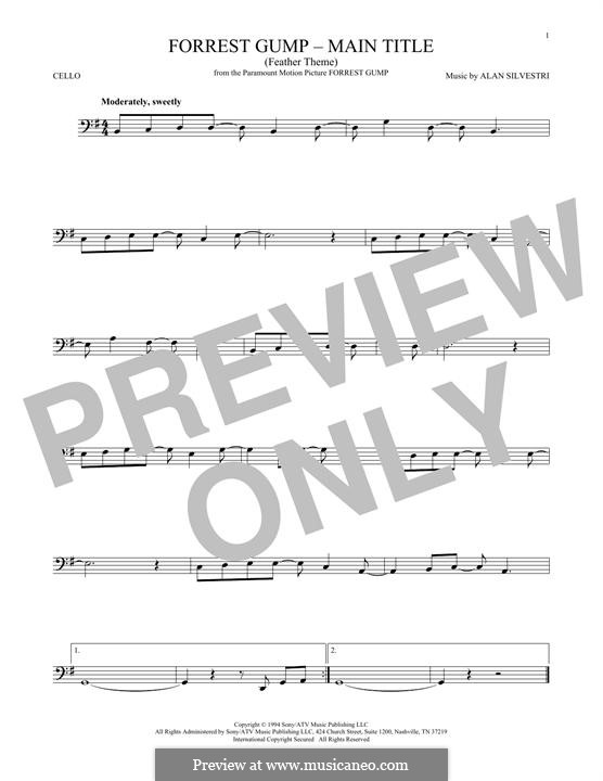 Forrest Gump Suite (Theme): para violoncelo by Alan Silvestri