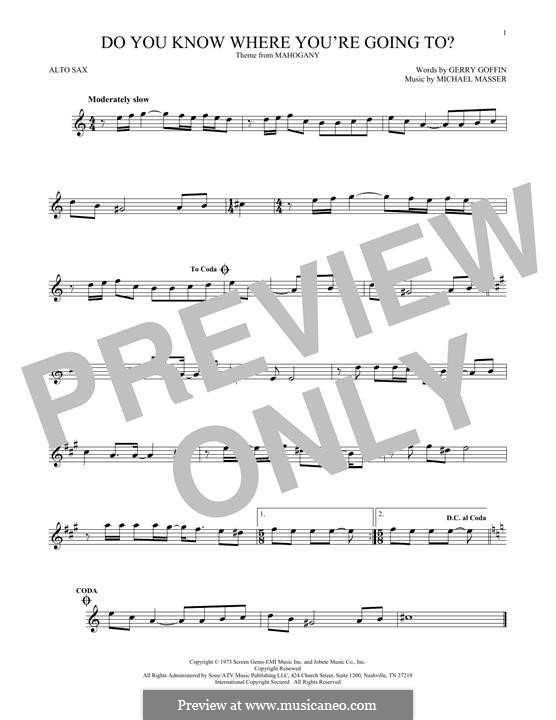 Do You Know Where You're Going To? (Diana Ross): para Saxofone Alto by Gerry Goffin, Michael Masser