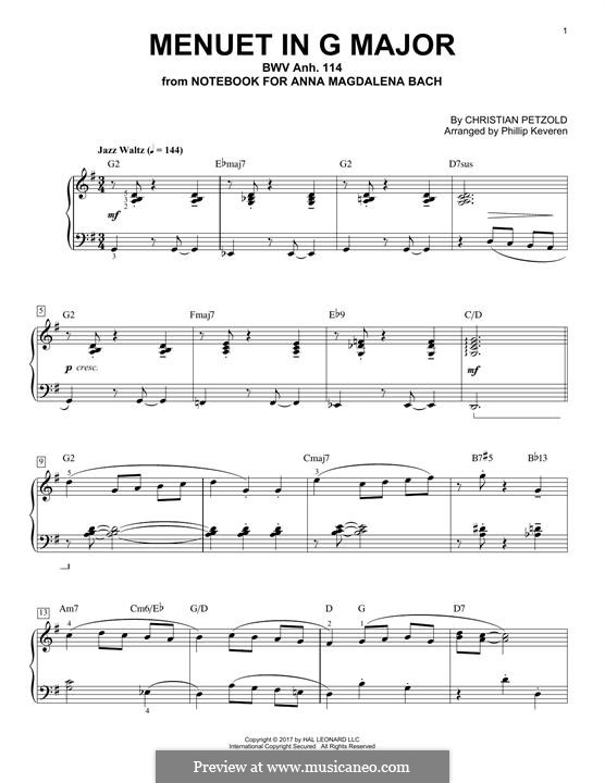 No.4 Minuet in G Major, for Piano: For a single performer (by Phillip Keveren) by Johann Sebastian Bach