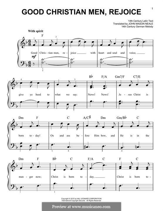 Good Christian Men, Rejoice: Para Piano by folklore