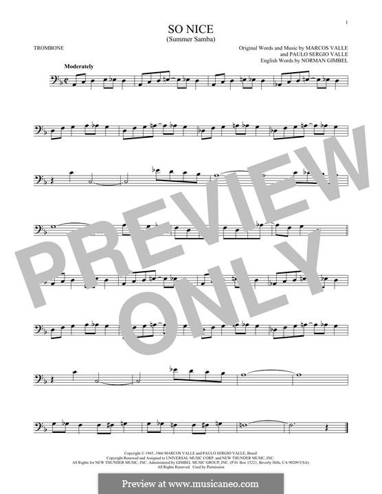 So Nice (Summer Samba): para trombone by Marcos Valle, Paulo Sergio Valle