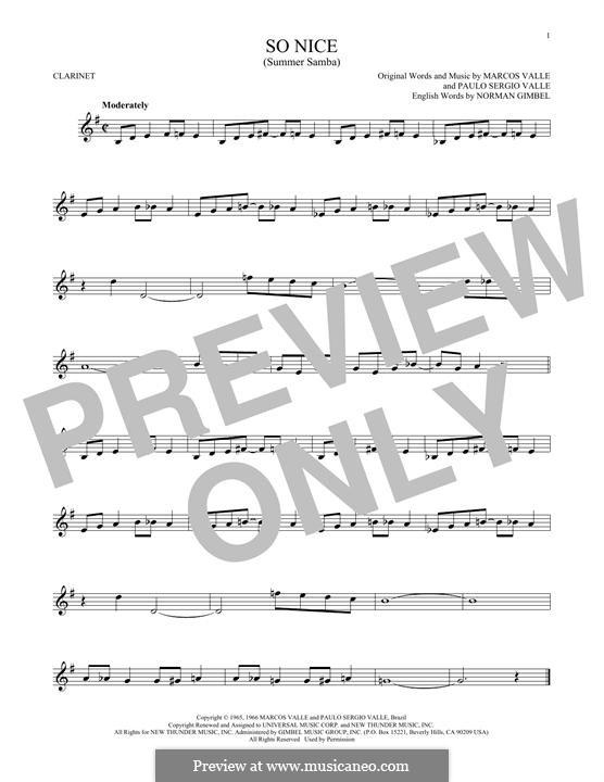 So Nice (Summer Samba): para clarinete by Marcos Valle, Paulo Sergio Valle