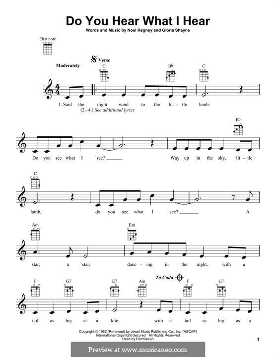 Do You Hear What I Hear: para ukulele by Gloria Shayne, Noël Regney