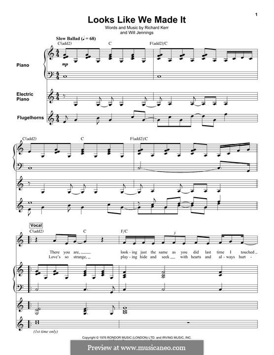 Looks Like We Made It: Para vocais e piano by Richard Kerr, Will Jennings