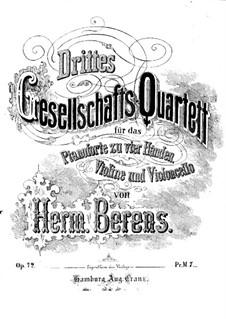 Gesellschaftsquartett Nr.3, Op.72: Klavierstimme by Johann Hermann Berens