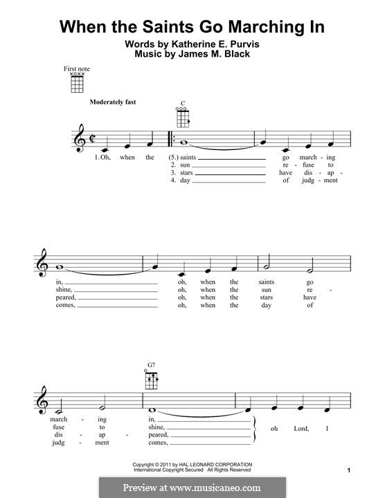 When the Saints Go Marching in: para ukulele by folklore