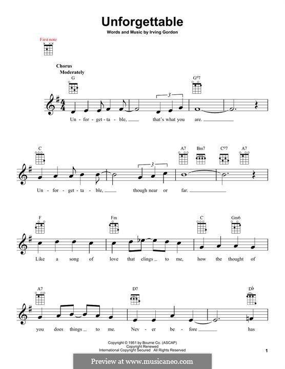 Unforgettable: para ukulele by Irving Gordon