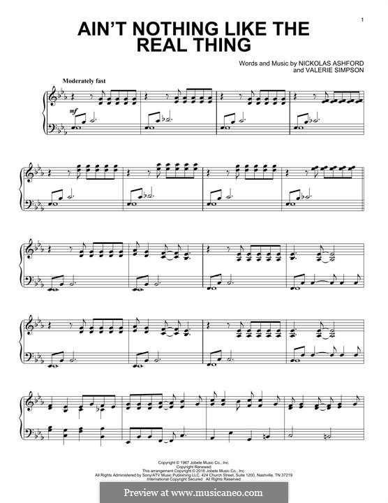 Ain't Nothing Like the Real Thing (Marvin Gaye & Tammi Terrell): Para Piano by Nicholas Ashford, Valerie Simpson