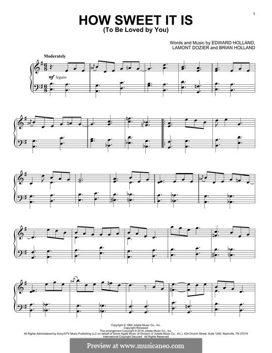 How Sweet It Is (To Be Loved By You): Para Piano by Brian Holland, Edward Holland Jr., Lamont Dozier