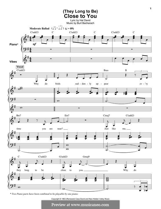 Close to You (They Long to be): Para vocais e piano by Burt Bacharach