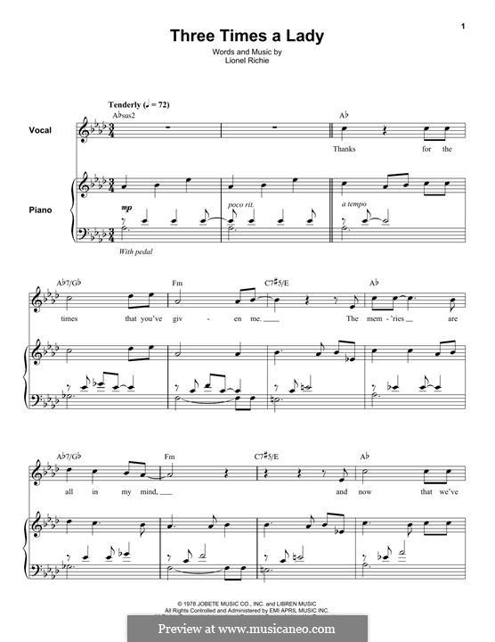 Three Times a Lady: Para vocais e piano (ou Guitarra) by Lionel Richie