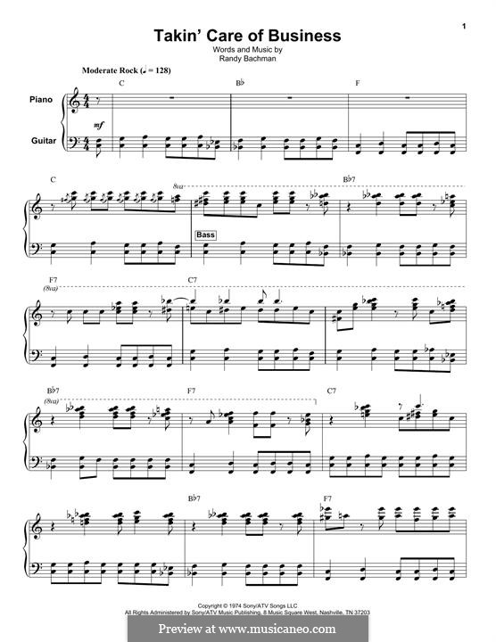 Takin' Care of Business (Bachman-Turner Overdrive): Para vocais e piano (ou Guitarra) by Randy Bachman