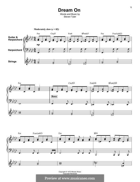 Dream On (Aerosmith): For violin, harpsichord and guitar by Steven Tyler