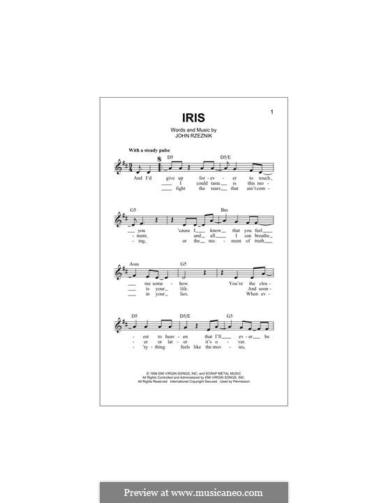 Iris (Goo Goo Dolls): melodia by John Rzeznik