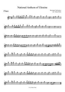 Shche Ne Vmerla Ukraina (Ukrainian National Anthem): para flauta by Mikhail Verbytskyi