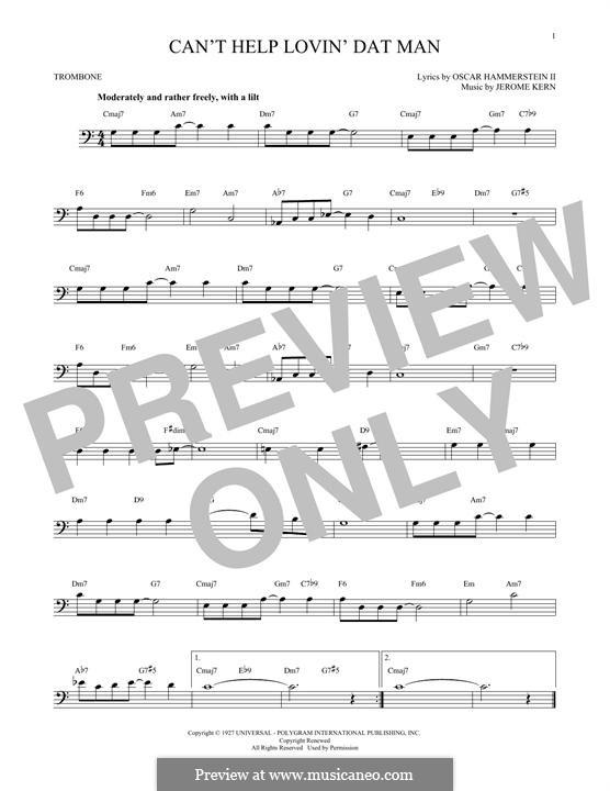 Can't Help Lovin' Dat Man (from Show Boat): para trombone by Jerome Kern