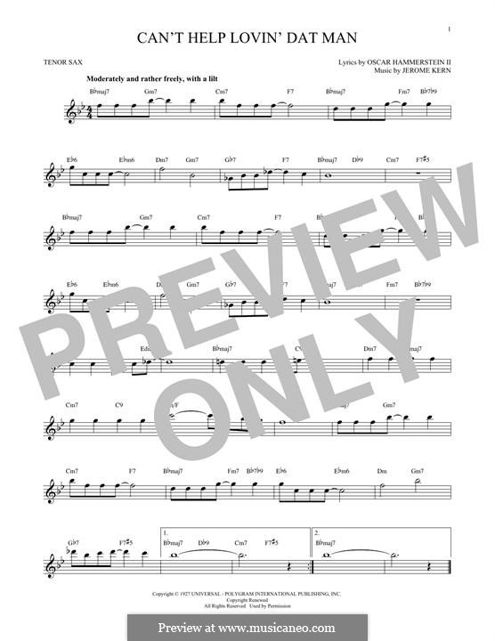 Can't Help Lovin' Dat Man (from Show Boat): para saxofone tenor by Jerome Kern