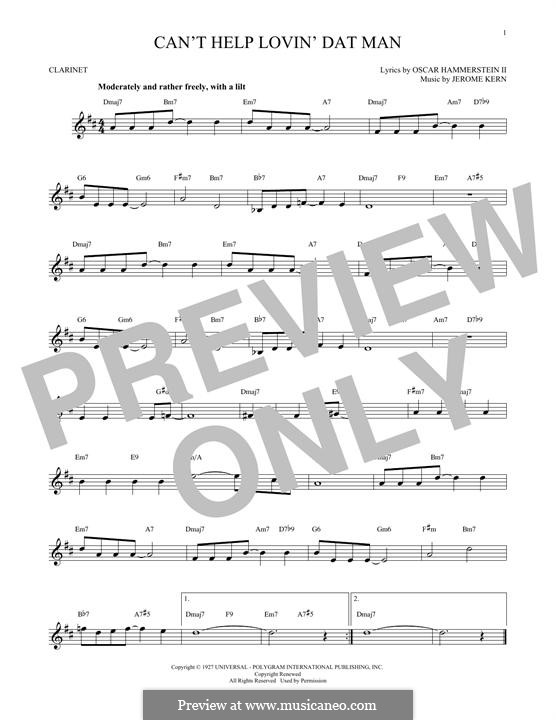 Can't Help Lovin' Dat Man (from Show Boat): para clarinete by Jerome Kern
