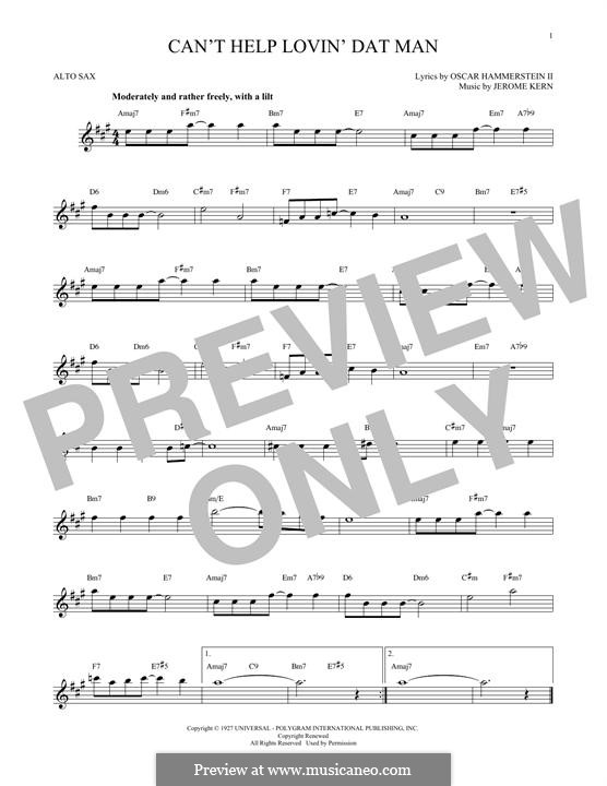 Can't Help Lovin' Dat Man (from Show Boat): para Saxofone Alto by Jerome Kern