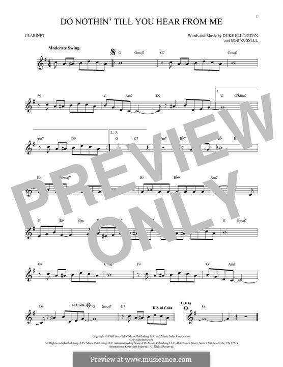 Do Nothin' Till You Hear from Me: para clarinete by Duke Ellington
