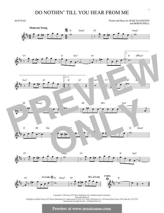 Do Nothin' Till You Hear from Me: para Saxofone Alto by Duke Ellington